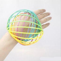 Wholesale Big Wristbands - Children Plastic Hoop Decompression Toy Rainbow Circle Flow Ring Arm Slinky Bracelet Pattern Toroflux Magic Wristband Flowtoy 4 5bq W