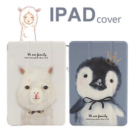 Wholesale Computer Screen White - For iPad Air Pro Mini Protective Shell Case Flat Computer Sleeve Table PC Leather Cover Printing Amusing Cartoon Penguin Alpaca