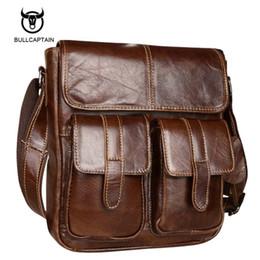 Wholesale Black Portfolio - Bullcaptain 2017 New Arrival Men's Shoulder Bag Satchel Genuine Cowhide Leather Messenger Bags For Men Rugged Portfolio