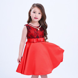 Collar de limon online-2017 vestidos de niña de moda de verano patrón de flores fiesta de la princesa vestidos de disfraces bebé niña vestido de lujo + cinturón + collar