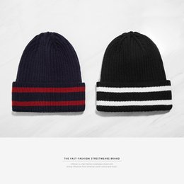 Wholesale plus tall - Men Cotton Hats Stripe Wool Yarn Knitting Warm Winter Fashion Hat Plus Velve Solid Color Beanie INF 21gf hh