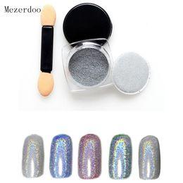 Wholesale rainbow dust - 1g Box Shiny Laser Nail Powder Holographic Nail Glitter Rainbow Chrome Pigment Manicure Pigments Dust Nail Art Decorations