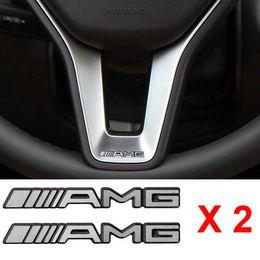 2019 envoltório de vinil com mudança de cor branca 2 PCS Liga de ALUMÍNIO AMG Volante Emblema Adesivo Emblema Do Logotipo S66 Frete grátis