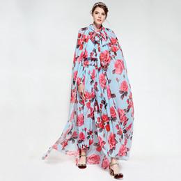 Deutschland Sky Blue Flowers Print Damen Pullover und Strampler Fashion Bodysuit Frauen mit Capes Combinaison Femme 2018 80160 supplier flowers sky Versorgung