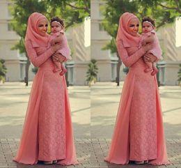 Wholesale Long Black Chiffon Skirt Elegant - Watermelon Coral Lace Muslim Evening Dresses 2018 new Long Sleeves Over Skirt Chiffon Elegant Formal Evening Dresses Saudi Arabic Prom Dress