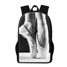 Wholesale Backpack Trendy - Cute Ballet Dancing Girl School Backpack for Teenagers Trendy Lightweight Bookbag Pattern Toe Shoe Print Bagpack Personalized Kids Rucksack