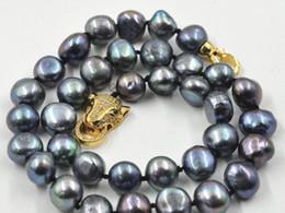 2019 collane di perle nere del sud del mare Bellissima nuova collana di perle barocche nere del 12-13mm del Mar Nero con chiusura a leopardo 18