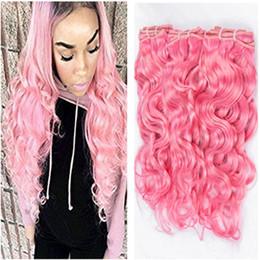 2019 faisceaux de cheveux vierges colorés Pure Pink Virgin Peruvian Wet Wavy Wavy Bundles 3 Pcs Coloré Rose Bundle de Cheveux Humains Offres Vague D'eau Vague Péruvienne Vierge Cheveux Weaves promotion faisceaux de cheveux vierges colorés