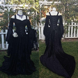 Wholesale Medieval Lace Dress - Vintage Black Gothic Wedding Dresses A Line Medieval Off the Shoulder Straps Long Sleeves Corset Bridal Gowns with Court Train Custom Made