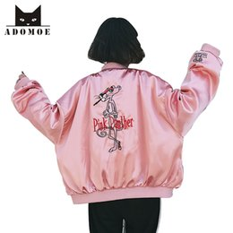 giacca di raso rosa delle ragazze Sconti Primavera nuove donne coreane moda strada Giacche donna autunno Harajuku Girl Pink Panther fumetto ricamo raso giacca da baseball