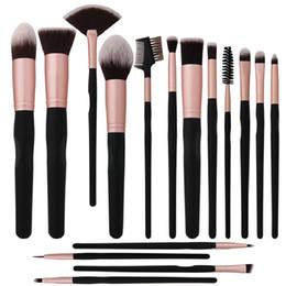 Set di pennelli trucco sintetico Kabuki in 16 pezzi Set di pennelli per ombretto in polvere per fondotinta in polvere con borsa in pelle da set di pennelli di trucco premium fornitori