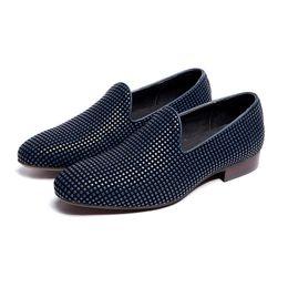 Wholesale Comfortable Mens Black Dress Shoes - New style oxfords rivets decoration set foot daily wear genuine leather dress shoes blue black rubber outsole comfortable mens oxfords