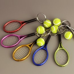 Wholesale tennis ball keychain - High Quality 6 Colors Tennis Keychain Key Ring Tennis Racket Model Key Chain Creative Pendant Keychains Promotion Small Gift G256Q