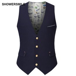 Wholesale Korean Wedding Suits For Men - SHOWERSMILE Slim Fit Suits Vest Wedding Waistcoat For Men Single Breasted Buttons With Pockets Korean Style Clothing Black Navy