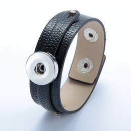 Deutschland Heißer Verkauf 1pcs / lot DIY Schwarzes PU-Leder BraceletBangle Verschluss-Schmucksache 18mm Druckknopf SZ0370k-a cheap leather bangles bracelets fit diy Versorgung