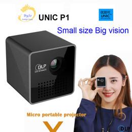 Led portátil rgb online-Proyector DLP UNIC P1 original Micro Pocket Beamer con batería HDMI 1080P Mini RGB Led portátil de cine en casa Proyector de videojuegos Proyector