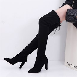 sexy knee high boots heeled Promo Codes - Women Thigh High Boots Stilettos Sexy Over The Knee Boots Pointy Toe High Heel Long Black Gray With Zipper