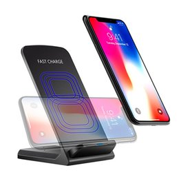 Wholesale Fast Packaging - 2 Coils Qi Fast Wireless Charger Stand Pad Wireless charger for iPhone X 8 8Plus Samsung Note 8 S8 Plus S7 edge Q700 with package