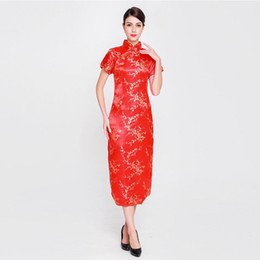 Canada Élégante Dame Satin Qipao Vintage Femmes Col Mandarin Cheongsam Chinois Style RED Mariée Robe De Mariée Fleur Plus La Taille S-6XL supplier collar wedding dress plus size Offre