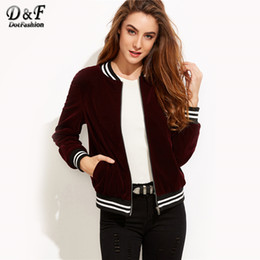 Wholesale Ladies Velvet Short Jackets - Dotfashion Varsity Striped Velvet Bomber Jacket 2017 Burgundy Stand Collar Coat Ladies Autumn Long Sleeve Zipper Jacket