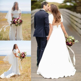 Wholesale Bohemia Shirt - 2018 Sexy Front Slit Country Wedding Dresses Cap Sleeves Backless Wedding Dress Bohemia Cheap Vintage Bridal Gowns