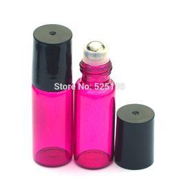 Mini 5 ml Muestra de perfume Rodillo Botella de vidrio Recargable Rosa Aceite esencial Rodillo en la botella con tapa de plástico negro desde fabricantes