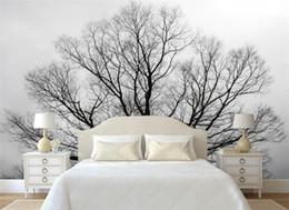 Wholesale Black White Vintage Wallpaper - Custom Wallpaper Black & White Trees Trees mural TV Background Wall Living Room Bedroom Mural wallpaper for walls 3 d