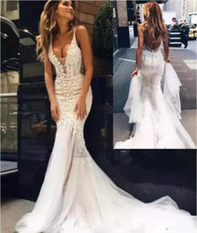 lace couture backless wedding dresses Promo Codes - Pallas Couture Beach Wedding Dresses Backless Sheer Deep V Neck Fishtail Bridal Gowns Vestido De Novia Customized Mermaid Wedding Dresses