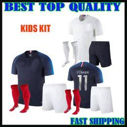 Wholesale Grey Child - 2018 france kids soccer Jerseys World Cup home away pogba 18 19 PAYET MBAPPE GRIEZMANN COMAN child maillot de foot football jersey shirts