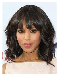 Wholesale lace front wigs fringe - Human hair Short Bob Wavy Curly Natural Full Hair Wigs With Bangs Black Women African American lace front bob wigs with fringe 12inch
