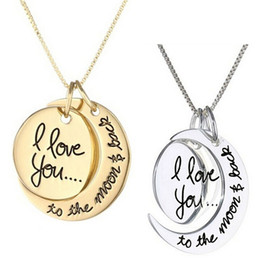 Wholesale I Love Romantic - I Love You To The Moon and Back Romantic Choker Lobster Clasp Pendants Necklaces Jewelry Gifts