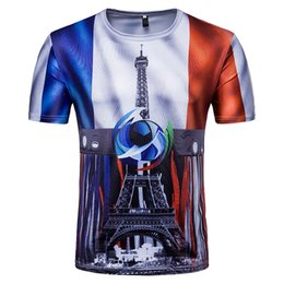 Wholesale Eiffel Shirt - 2018 Russia FIFA World Cup Football Fans Tshirts Men Short Sleeves Commemorative Shirt with French Eiffel Tower Print