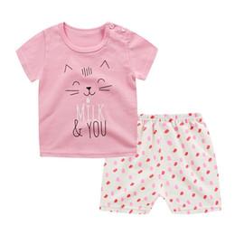 Wholesale cartoon body suit - Hot Sale Kids Summer Short Sleeve Bodysuit Baby Girls Boys Clothes Cotton Children Clothing Suit Cartoon Body Suit