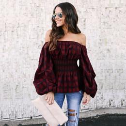 Wholesale Blusas Moda - Feitong Off Shouder Plaid Shirt Lantern Long sleeve Peplum Blouse Blusas Mujer De Moda 2018 Spring NEW Womens Clothing