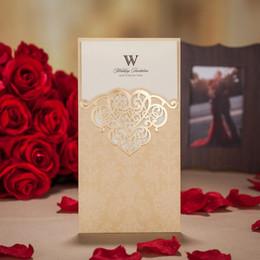 Wholesale Wedding Invitations Blank Inside - 113*214mm Creative Wedding Invitation Card With Envelope Hollow Laser Cut Seal Tri-folding Type Blank Inside Page Wedding Decoration