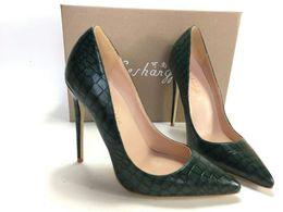 Chaussures vert foncé talons en Ligne-Keshangjia Dark Lady Lady Escarpins à talons hauts Chaussure à talon haut Femme Chaussures à talon plat