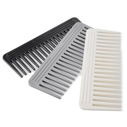 Wholesale Wide Tooth Comb Wholesale - 15.5cm Wide Tooth Handle Combs Upmarket Hairdressing Salon Massage ABS Plastic Hair Comb Black Gray