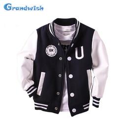 Wholesale kids baseball jackets girls - Grandwish Boys Baseball Coats Girls PU Leather Jacket Kids Sports Outerwear Autumn Coat Children Casual Clothes 24M-14T, SC605