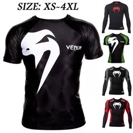 Wholesale Mma Xl T Shirts - Venum Wand Inferno Short Sleeved Training Quick Drying Tights T-shirt Long Sleeved MMA UFC Venom Tops
