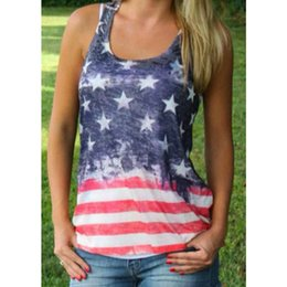 Wholesale Wholesale Vests For Women - 2017 NEW Sexy Summer Style Sleeveless Tops American USA Flag Print Stripes Tank Top for Women Blouse Vest Shirt