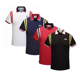 2019 t passen Luxus Polo Homme Shirt 2019 Mode Druck Kurzarm Slim Fit Medusa T-Shirts Männer Marke Designer Polos Mit Stickerei Bienen Lässige Polos rabatt t passen