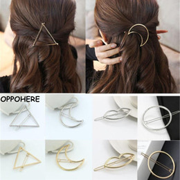 New Fashion Women Girls Accessori per capelli Gold / Silver Plated Metal Triangle Circle Moon Clips Metal Circle Forcelle Holder da