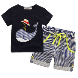 Wholesale New Boys Outfits - 2018 New Children's Clothing Boys Summer Sets Whale T-shirt and Striped Shorts Sports Suit Brand Children Boy Baby Kids Outfits TO522