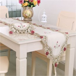 Wholesale Rustic Tablecloths - Top grade FashionTable Runner dining table cloth Placemats cushion rustic lace Embroidery cloth tablecloths 40x176 CM