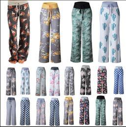 Wholesale wide legged pants for women - Women Floral Yoga Lounge Sport Wide Leg Casual Loose Long Pants Trousers Long pants for women Yoga pants KKA4392