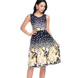 Wholesale Plus Size Yellow Midi Dress - Women A line Midi Dress Summer Polka dot Off shoulder Floral Print Plus size Casual Vintage Dress Vestidos Fashion Sleeveless