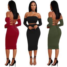 Lunghe pagliette per le donne online-Estate di alta qualità Dodycon Dress in due pezzi Set donne Tute Pagliaccetti Lady Sexy Halter Lace Dress Tute manica lunga Tops Tees all'ingrosso