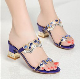 0fc5720f256 Leather rhinestone slippers Summer 2018 fashion outfits sandals women s  high-heeled sandals