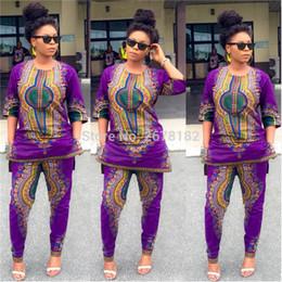 2018 Vestido Africano Ropa de Mujer Limitada Nuevo Sexy Retro Étnico Dashiki  Moda Suelta Dos conjuntos de pantalones de ajuste + Vestido de la camisa ... 65eea6d9edb