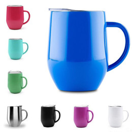 Wholesale Clear Coffee Cups - 12oz Wine Glass Cup With Handle & Crystal Clear Lids Stainless Steel Double Wall Vacuum Insulated mugs Drink Coffee cups